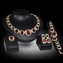 Свадебные аксессуары для невесты золотой цвет кристалл зеленый красный циркон кулон ожерелье серьги кольцо для женщин Свадебные Ювелирные наборы