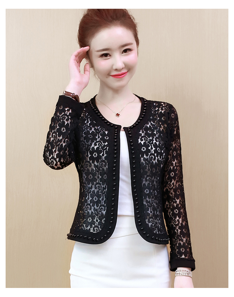 HTB1jly4S7voK1RjSZFNq6AxMVXa2 - Women Jacket Long Sleeve black hollow lace jacket women fashion women's jackets women coats and jackets women clothing B239