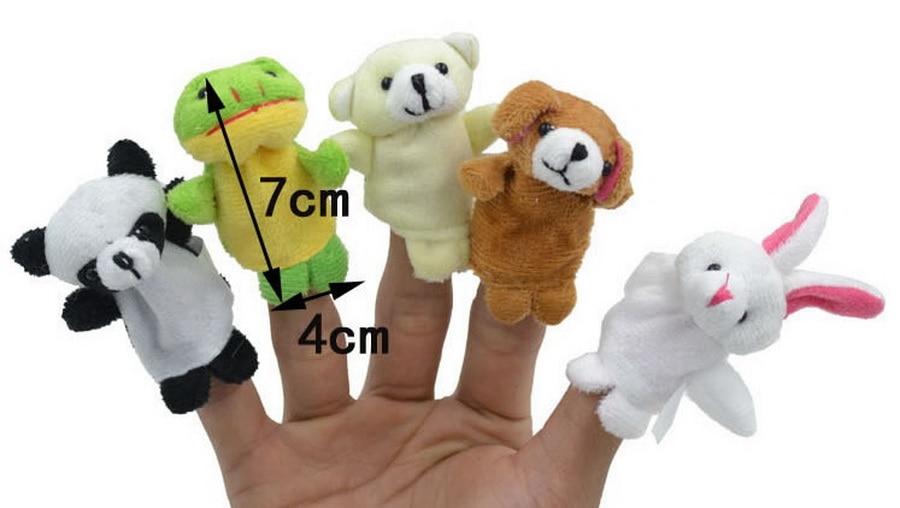 DHL 200bag 6 10 12pcs bag Cartoon Animal Velvet Finger Puppet Finger Toy Finger Doll Baby
