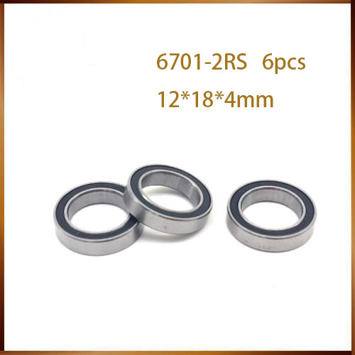 <font><b>6701RS</b></font> Bearing ABEC (6PCS) 12x18x4 mm Thin Section 6701-2RS Ball Bearings 61701RS 6701 2RS With Orange Sealed image