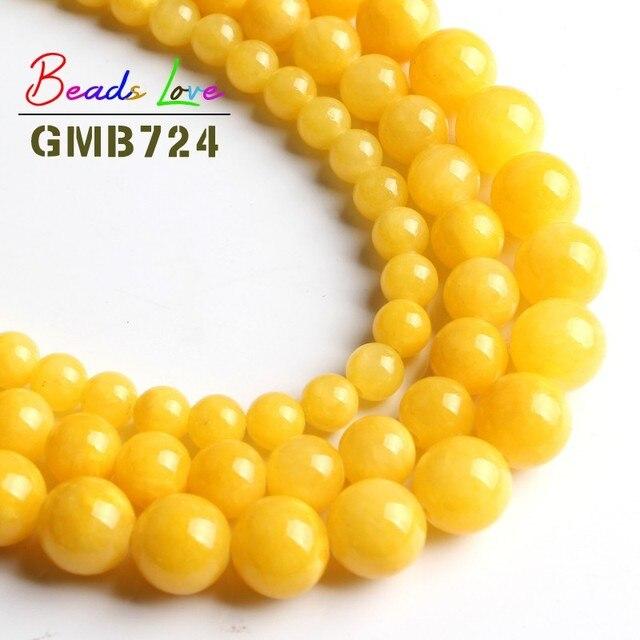 Atacado Escuro Liso Amarelo Jade Pedra Redonda Beads para Fazer Jóias Pulseira Diy Colar 6 8 10mm Pick Tamanho 15 polegadas