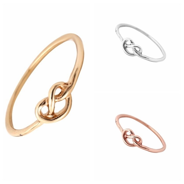 Min 1pc Gold Silver and Rose Gold Heart Knot Ring Everyday Jewelry Infinity Adju