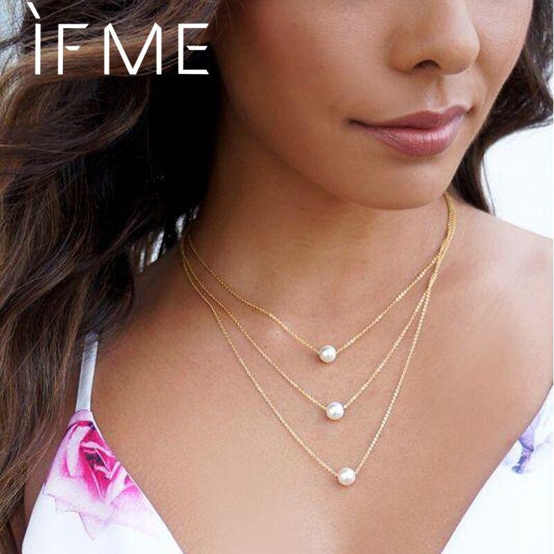 IF ME, винтажное многослойное ожерелье с кулоном из кристаллов, женские бусы золотого цвета, Лунная звезда, рога полумесяца, колье, ожерелье, ювелирное изделие, Новинка - Окраска металла: NJDY828