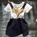 2016 детская одежда Мультфильм игривый Подвеска платье девочка платья ткань платья костюм