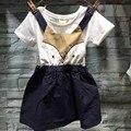 2016 das Crianças roupas de Desenhos Animados brincalhão Suspender vestido da menina do bebê vestidos de pano vestido de uma peça de roupa
