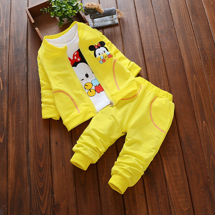 2016 New Autumn Spring kids clothes cartoon three piece suit toddler boys girls clothing set cotton coat t-shirt + pants 12M-4T
