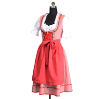 New Oktoberfest Beer Festival October Dirndl Red Maid Peasant Skirt Dress Apron Blouse Gown German Wench Costume Fancy Dress