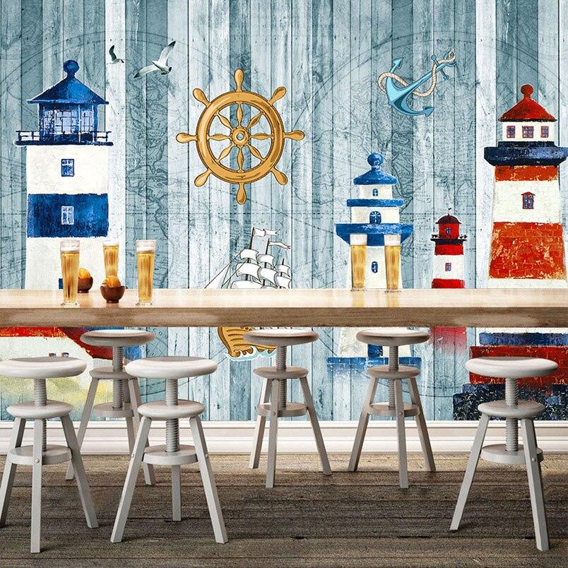 3D Mural Custom Wallpaper Cartoon-themed Navigation Sailboat Sea Tower Wall Large Mural Paper For Kids Children's Room Backdrop