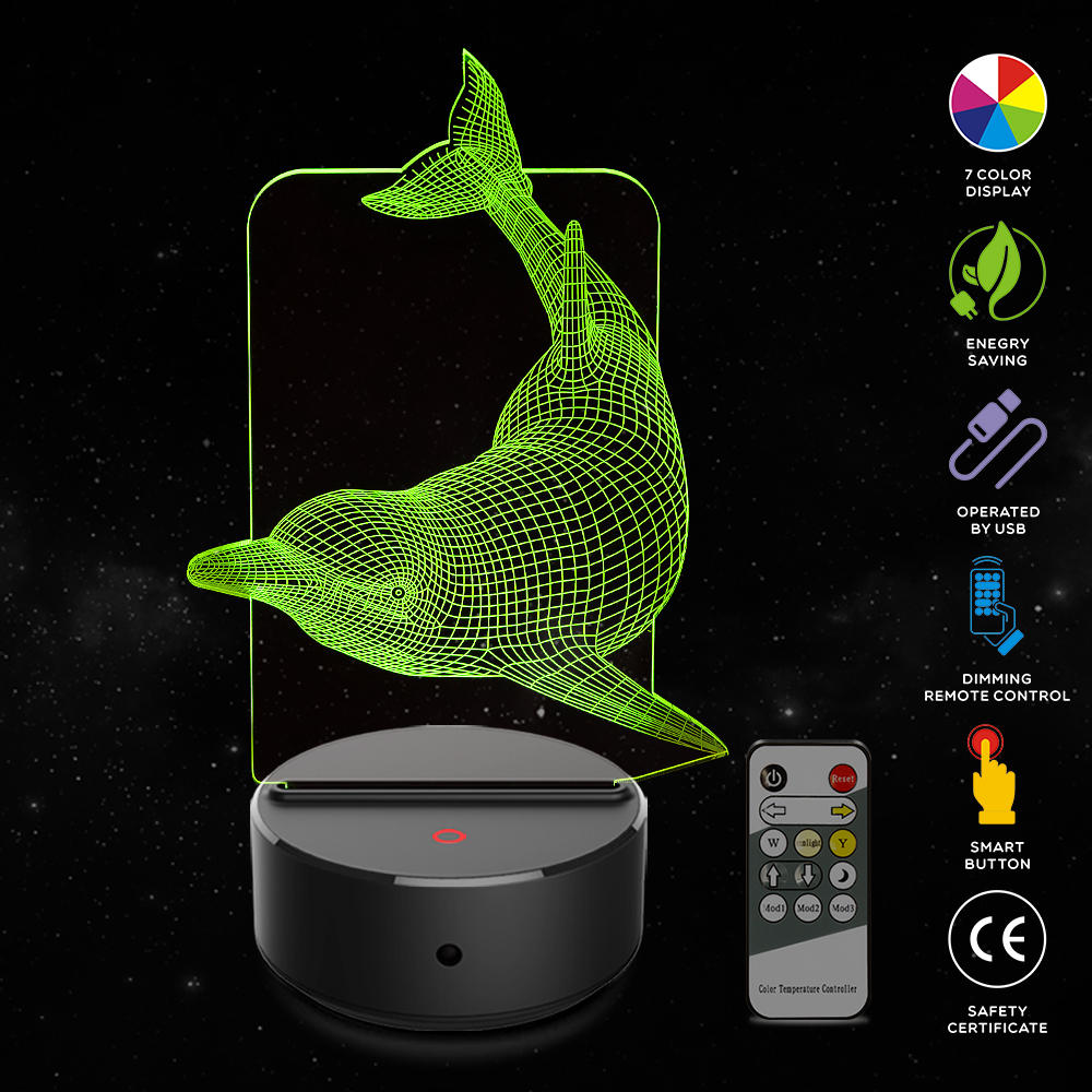 Dolphin Shape 3D Illusion Lamp 7 Color Change Touch Switch LED Night Light Acrylic Desk lamp Atmosphere Lamp Novelty Lighting in LED Night Lights from Lights Lighting