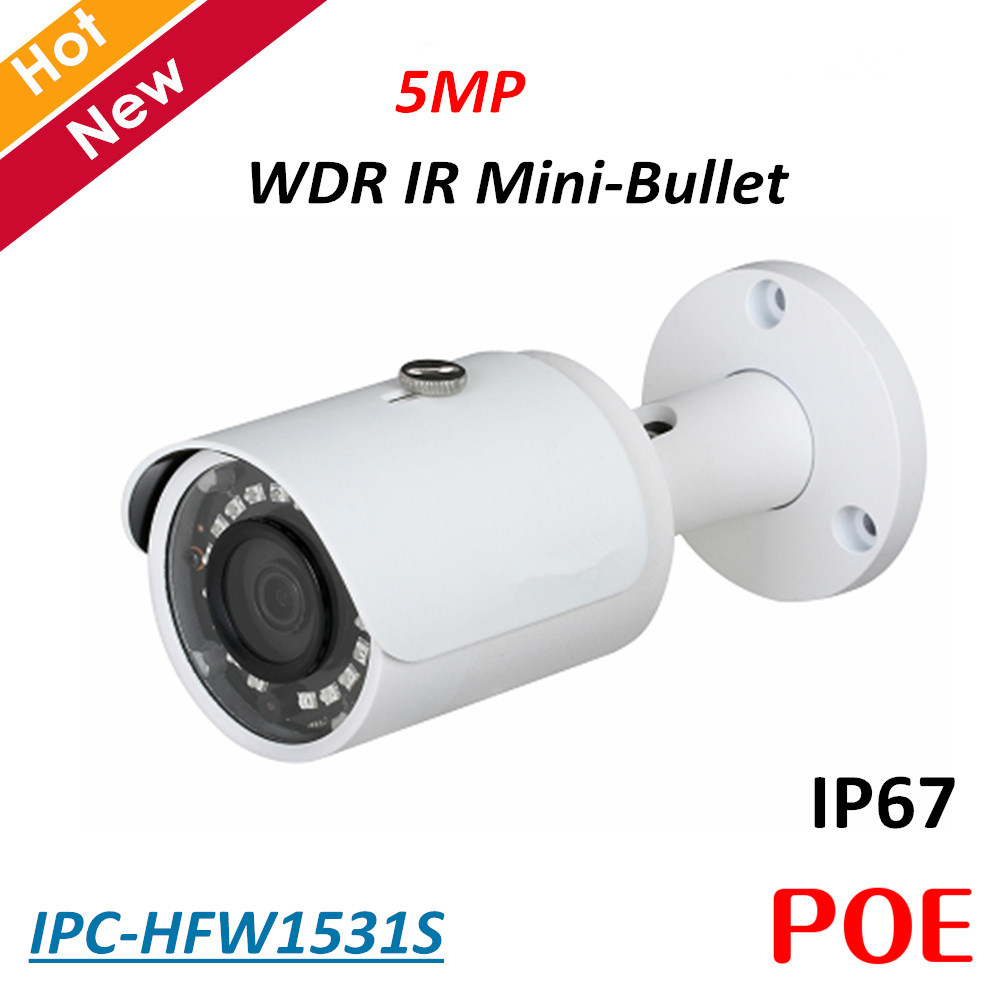 5MP DH POE Ip camera IPC-HFW1531S WDR IR Mini Bullet Camera H.265 H.264 2.8 mm fixed lens IP67 Security camera baby monitor