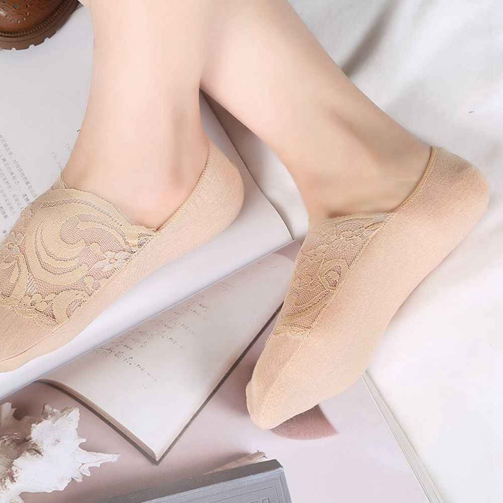 1Pair Sexy Women Lady Summer Antiskid Invisible Liner Cotton Lace Flower Low Cut Ankle Short Socks 2019 Hot