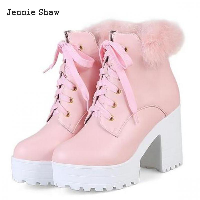 Snow White Sweet Pink Women Ankle Boots Female Rabbit Fur High Heel  Platform Boots Sys 1416-in Ankle Boots from Shoes on Aliexpress.com  4d7f9498b532