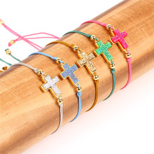 Trendy Resin Cross Handmade Bracelet Women Girl Charm Rope Chain Lucky Bracelets Female Friendship Lovers Jewelry Pulsera