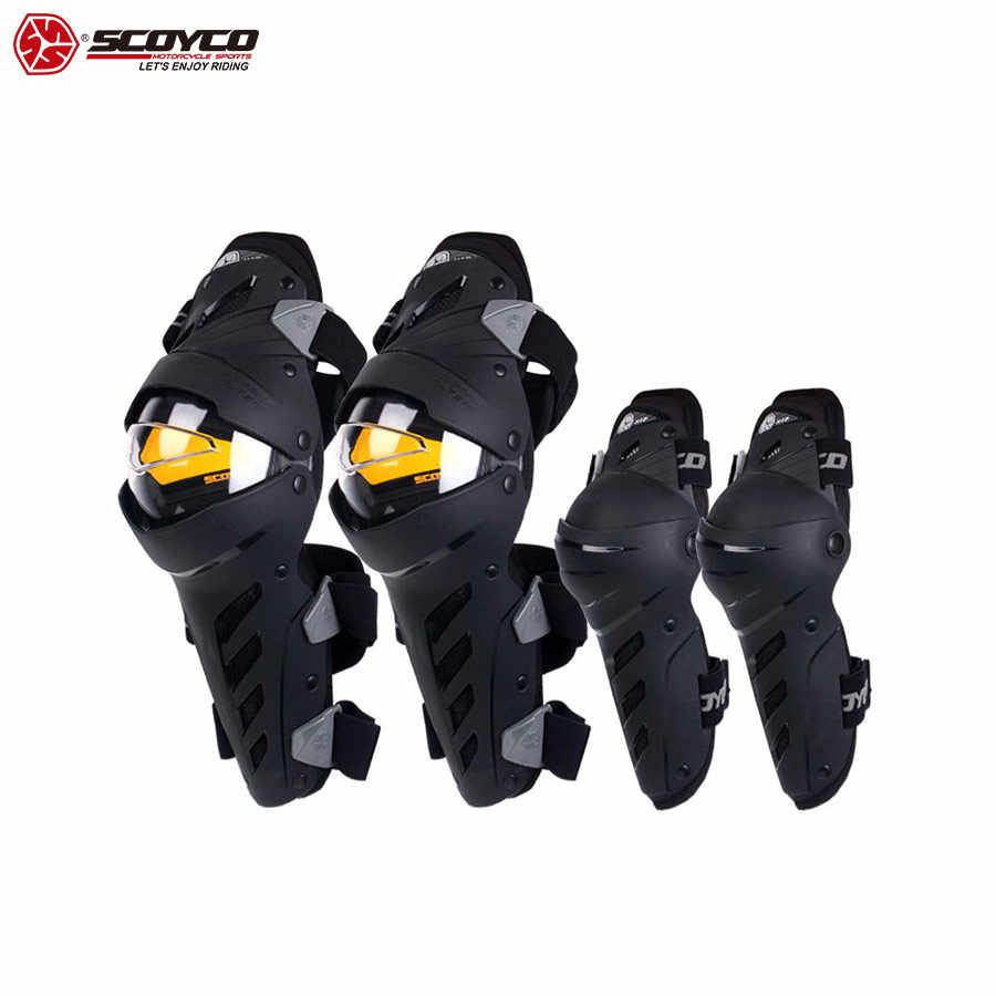 SCOYCO Motorcycle Knee & Elbow Guards, 4 PCS Off-Road PC Shell Protection CE Certificated Locomotive Shock-proof Protective Gear