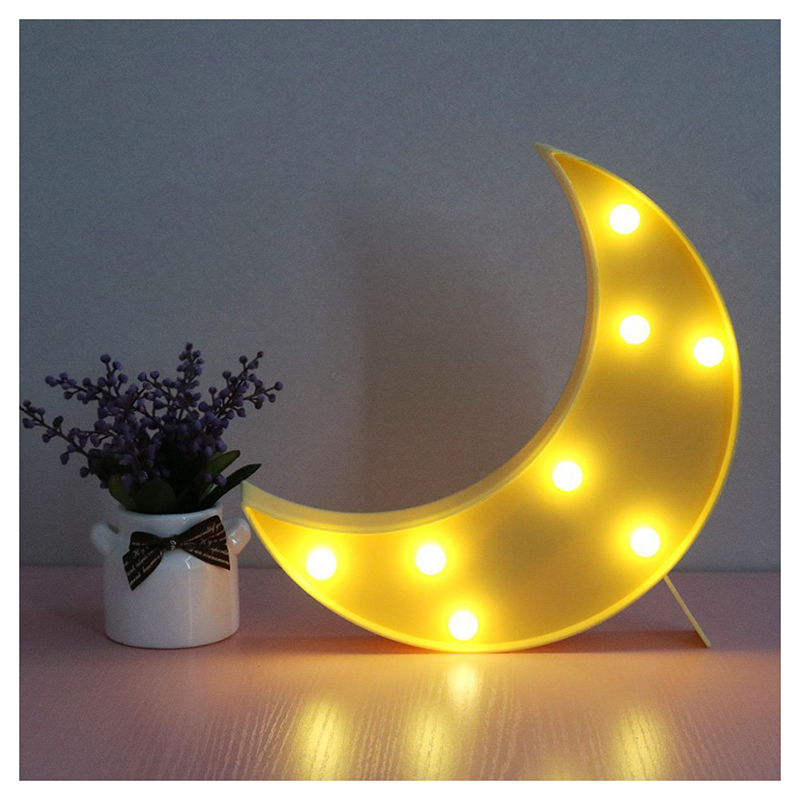Lovely Moon LED Night Lights Warm White 8les Lights for Kids Children Nursery Room Decorations-Yellow