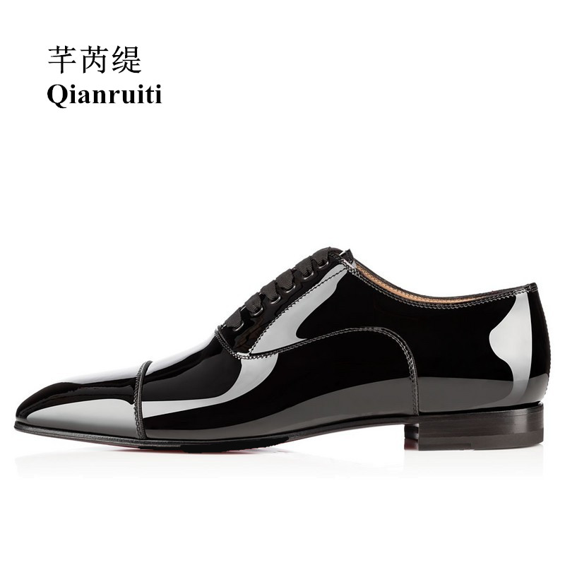 Qianruiti Men Patent Leather Shoes Lace-up Oxfords Business Wedding Flat High Quality Men Dress Shoes EU39-EU46 Matte Black qianruiti men slip on loafers metal toe lion head business wedding oxfords silver chain high quality men dress shoe eu39 eu46