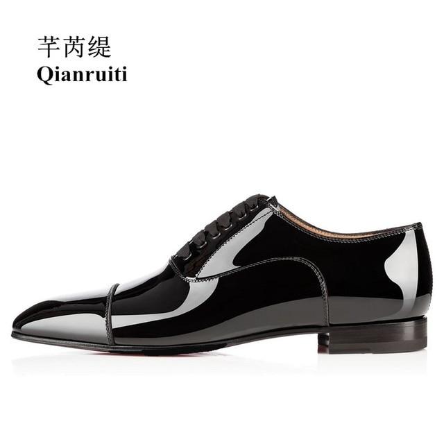 efc98af4d28 Qianruiti Men Patent Leather Shoes Lace-up Oxfords Business Wedding Flat  High Quality Men Dress Shoes EU39-EU46 Matte Black