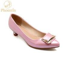 Phoentin kitten obcasy kryształ buty biurowe kobiety z metalową klamrą dekoracje slip on niskie obcasy damskie PU skóra różowy FT678
