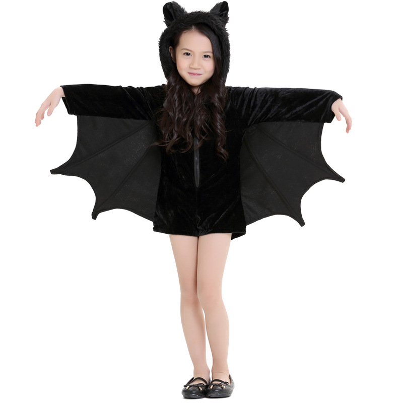 Ainiel Batman Baby Cosplay Costume Black Long Sleeve Warm Jumpsuit Costumes Halloween Party For Kid Girl