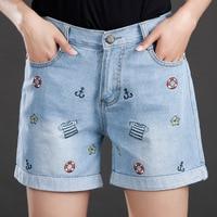 2017 Yeni Büyük Boy Kadın Yaz Kot Kodu Denim Şort Kadın Şişman MM Ince Nakış Eğlence Pantolon Moda Kız için