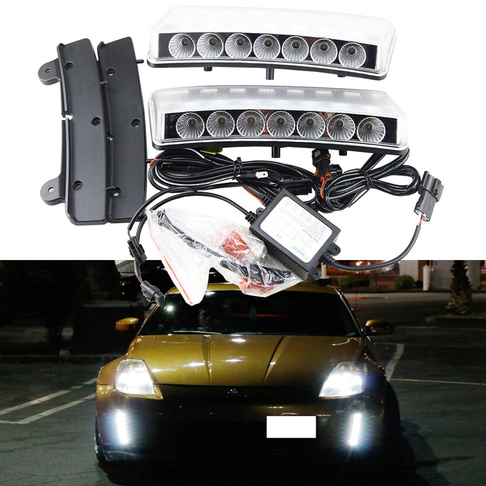 12V Car styling Clear Lens for 03-05 Nissan 350Z 7-SMD Front Bumper Reflector Daytime Running Lights Drl Kits