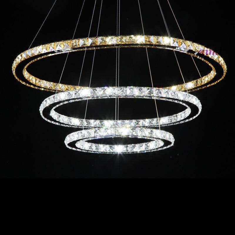 High quality K9 crystal LED pendant lamp 3 Rings K9 Crystal Stainless Steel round Chandeliers 90 260v amber lighting pendant