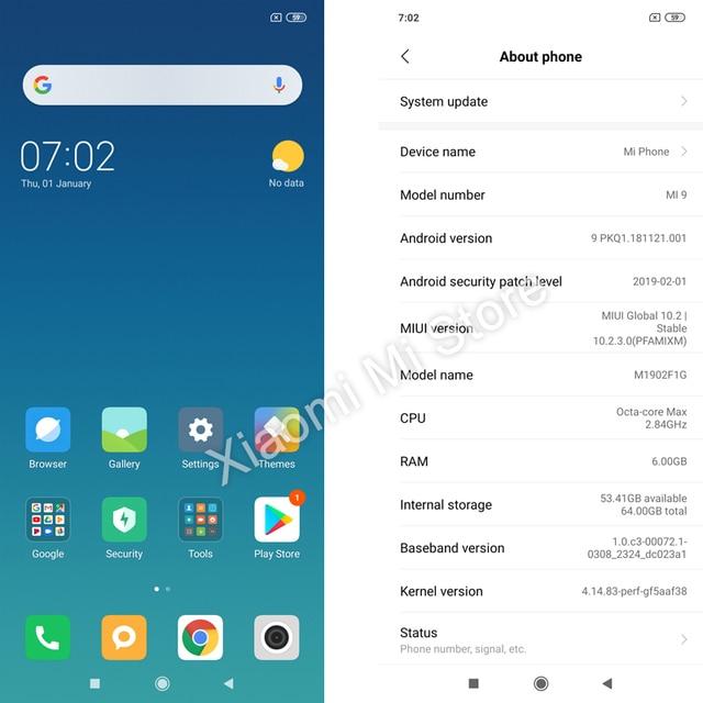 Global Version Xiaomi Mi 9 Mi9 Smartphone 6GB 64GB Snapdragon 855 Octa Core 6.39 2