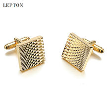 Hot Sale Square Gold Color Plated Cufflinks For Mens Lepton Jewelry High Quality Classic Carve Cuff links Relojes gemelos
