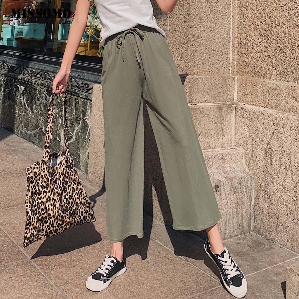 MISSOMO Women Cotton Linen Blend Long   Pants   Casual   wide     leg     pants   Beach Loose Trousers streetwear culottes 66