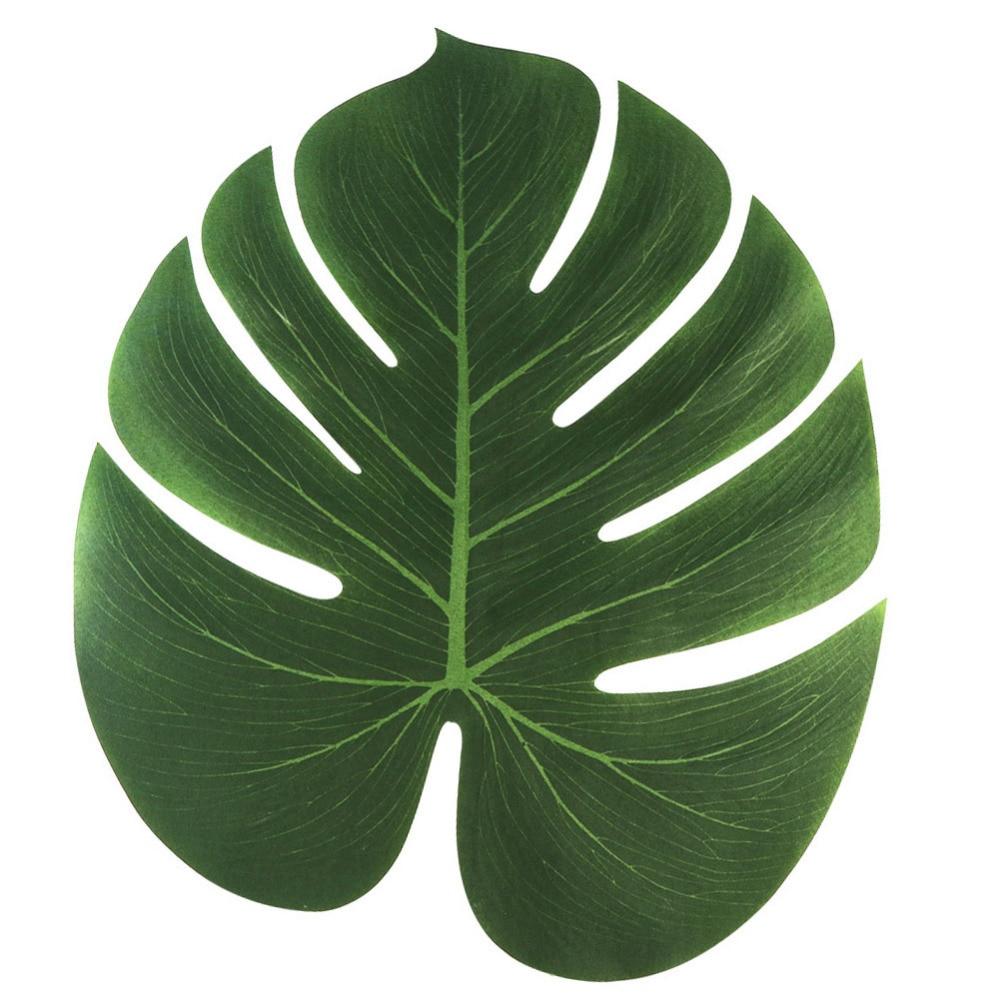 60pcs 35x29cm Artificial Tropical Palm Leaves for Tropical Party ...