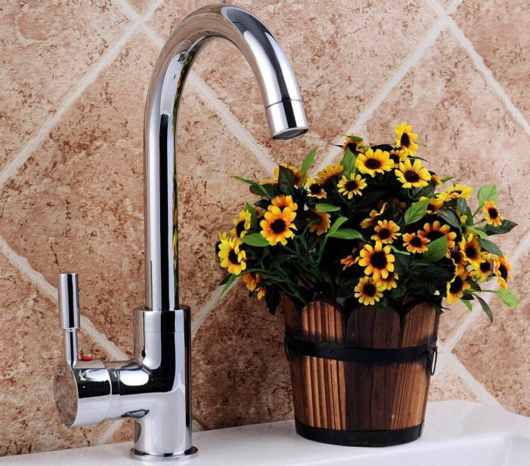 free shipping chrome brass no lead safe single lever hot and cold kitchen sink faucet mixer
