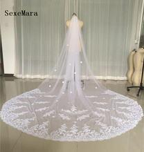 Реальные фотографии белая Фата для венчания длина 3 метра собора