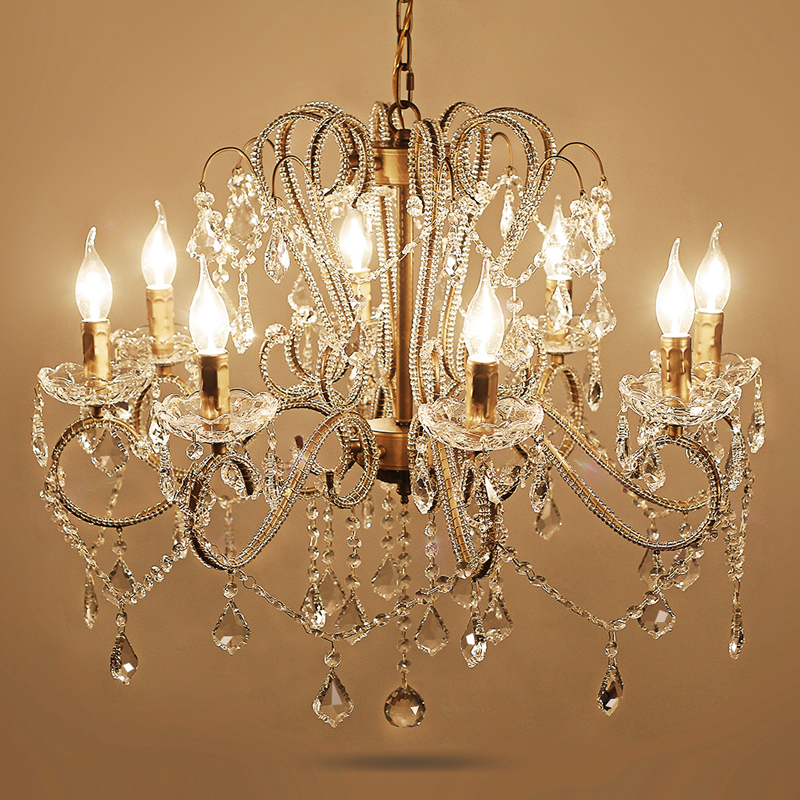 Crystal chandelier living room lamp retro country candle luxury dining room lamp European style rural bedroom Chandelier lights колготки детские брестские