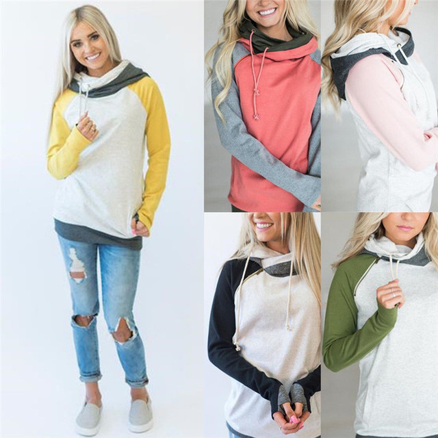 Plus Size Splice Long Sleeve Hoodie Sweatshirt Gym Hooded Top Jumper Pullover HOT S-XL