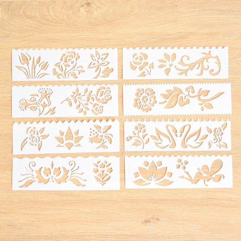 8pc Bullet Journal Stencil Openwork Flowers Stencil Painting Template Embossing Template Stencils Scrapbooking Decor Reusable