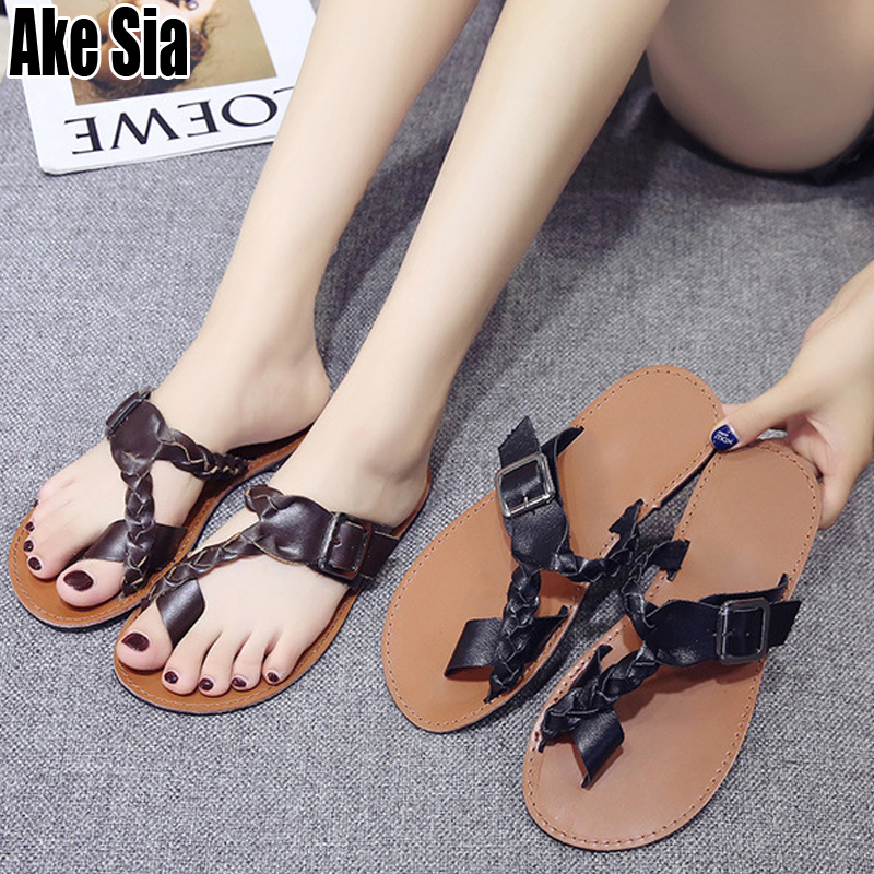 <font><b>Sexy</b></font> Summer Lady <font><b>Women</b></font> Fashion Thong Sandals <font><b>Flat</b></font> Buckles Flip Flops Slippers Beach <font><b>Casual</b></font> Slides Mules <font><b>Shoes</b></font> <font><b>Sapatos</b></font> Homme A600 image