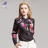 Fashion Flower Printed Shirt High Quality 2019 Autumn Women's Long Sleeve Bow collar Casual Blouse Runway Designer Office Tops