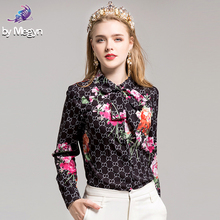 Fashion Flower Printed Shirt High Quality 2017 Autumn Women's Long Sleeve Bow collar Casual Blouse Runway Designer Office Tops