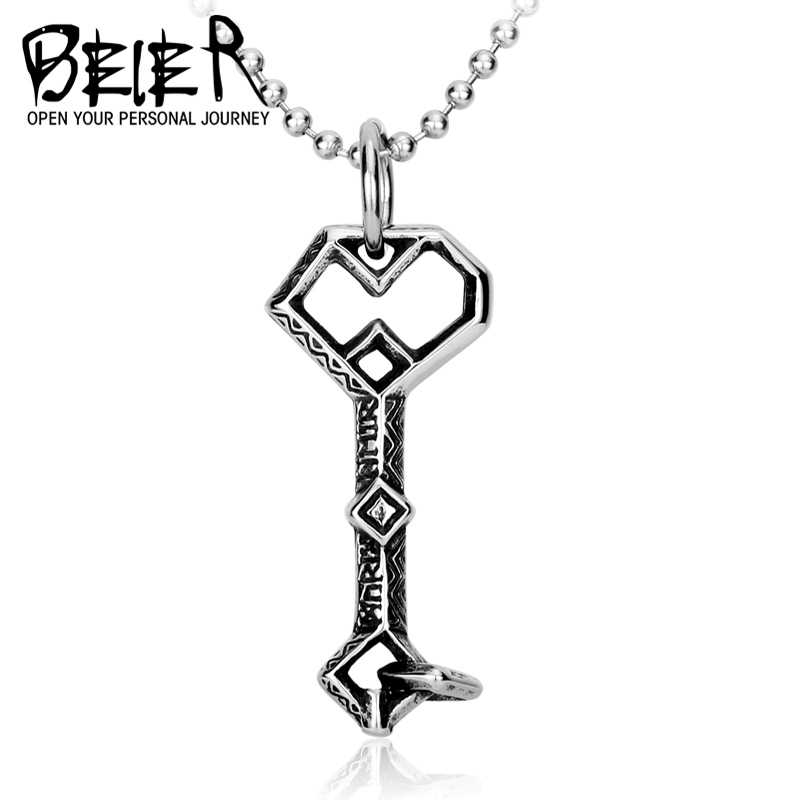 Beier nowy sklep 316L ze stali nierdzewnej stalowy wisiorek naszyjnik Hobbit Thorin ereboru klucz mody łańcuch mężczyzn biżuteria LLBP8-029R