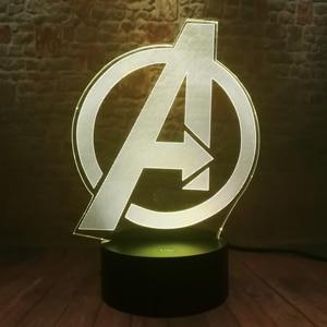 Image 4 - Creative The Avengers 4 Sign Model LOGO Super Hero Marvel Legends 3D RGB LED Night Light Kids Toys Xmas Gift Table Bedroom Decor