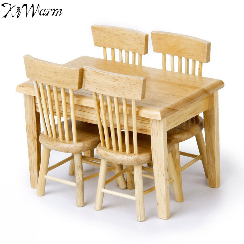 KiWarm 5pcs 1/12 Miniature Dining Table Chair Doll House Wooden Furniture  Set for Home