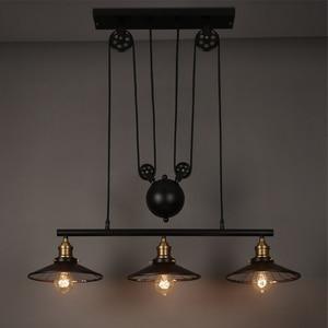 Image 2 - Loft Vintage Hanglampen Ijzer Katrol Lamp Keuken Home Decoratie Met E27 Edison Lamp Zwart Geschilderd Katrol Hanglamp