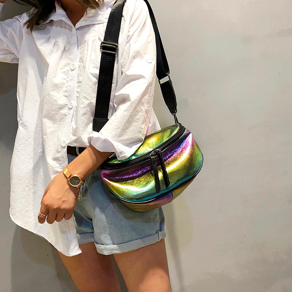 Women Bag Contrast color Wide Shoulder Strap Messenger Bag Waist Bag Tide Shoulder Bag Harajuku Big Tote#40 messenger bag
