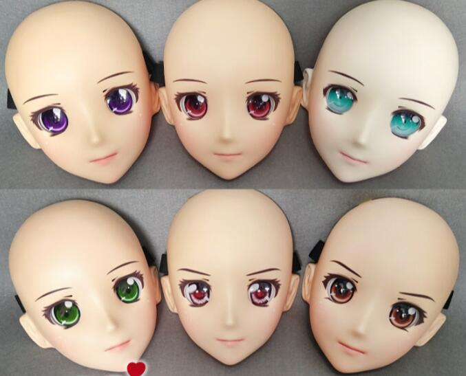 Reliable female Sweet Girl Resin Half Head Kigurumi Bjd Mask Cosplay Japanese Anime Role Lolita Lifelike Real Mask Crossdress Doll dm004