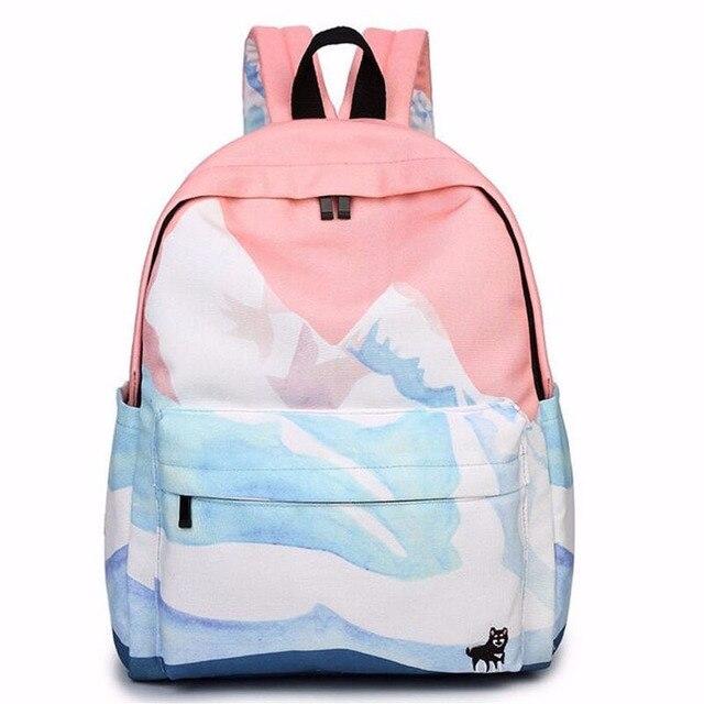 2016 designers de moda casal mochilas de viagem bordado harajuku coreano sacos sacos de escola para meninas adolescentes ZZ149 paisagem