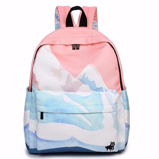 2016 diseñadores de moda pareja bordado mochilas de viaje de corea harajuku bolsas de mochilas escolares para las niñas adolescentes ZZ149 paisaje