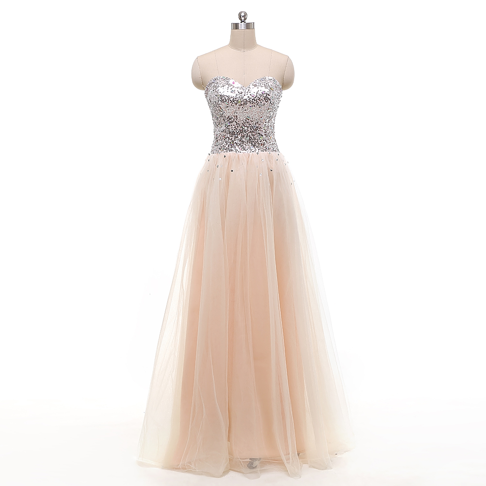 NEW   Bridesmaid     Dresses   Long Sequins   Bridesmaid     Dress   Champagne and Silver Formal   Dresses   Elegant Sweetheart Prom Gown