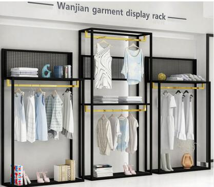 Clothing store display rack floor type men's and women's clothing shelf display rack new combination side hang.