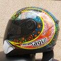 Nueva llegada de valentino rossi casco de la motocicleta moto kart racing cara llena casco hombres motociclistas capacete dot m/l/xl/xxl