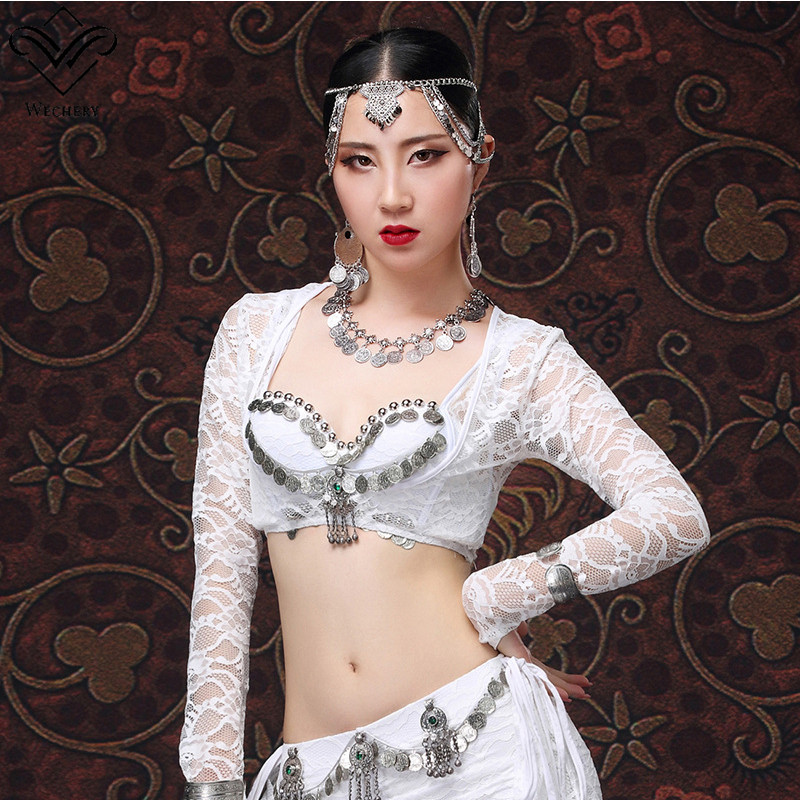 Wechery Crop Tops For Women Dance Wear Red White Lace Floral Open Capes Sexy Belly Dancing Costume Long Sleeve